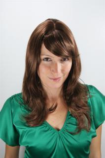 Damen Perücke Wig brünett rote Strähnen gestuft Haarersatz lang 50cm 4038-18/350