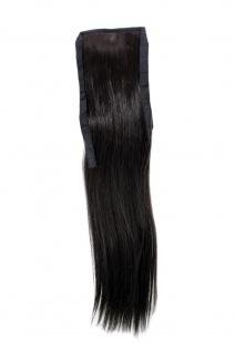 Haarteil ZOPF Dunkelbraun glatt 45cm YZF-TS18-4 Band Klammer Haarverlängerung