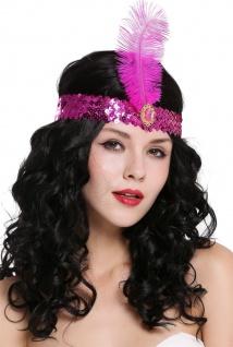 Haarband Haarreif Stirnreif Pailletten Charleston 20er Cabaret lila VQ-006
