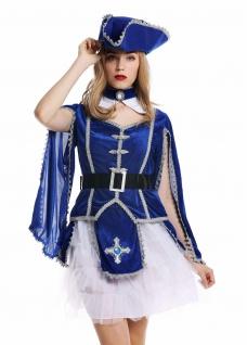 Kostüm Damen Frauen Karneval Barock Soldat Musketier Edelfrau Hut blau M W-0284 - Vorschau 2