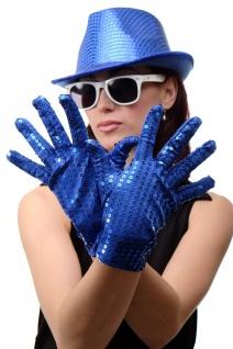 Handschuhe Fasching Karneval Revue Cabaret Pailletten Blau 80er 70er VQ-021-BLUE