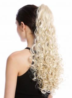 Haarteil Zopf Pferdeschwanz lang voluminös stark gelockt Lichtblond Blond 50cm
