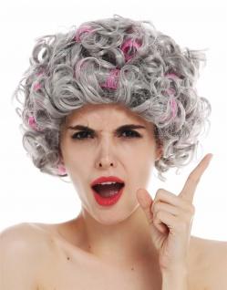 Perücke Damen Karneval grau Locken lockig Lockenwickler Oma Großmutter 3195