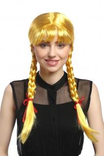 Perücke Damen Karneval Cosplay Fasching Zöpfe geflochten Schulmädchen Gelb