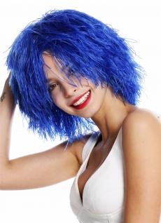Perücke Damen Herren Karneval struppig wild voluminös Kobold Clown Blau