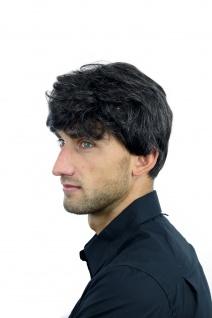 Perücke Herrenperücke Männer wellig sehr dicht dunkelbraun grau meliert CM-195 - Vorschau 2