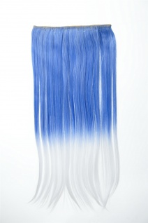 Extension Haarverlängerung Clip-In 5 Clip glatt zweifarbig Ombre Blau Weiß 60cm