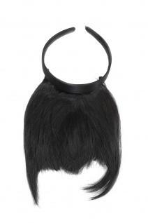 Clip-in Pony Haarreif längeres Seitenhaar Schwarz natürl. Wirkung HA071T-1B