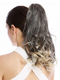 Haarteil Zopf Pferdeschwanz geflochtene Strähnen lockig gesträhnt schwarz blond
