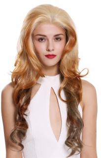 Perücke Damenperücke Front-Lace lang wellig Scheitel Balayage Blond Platin Braun