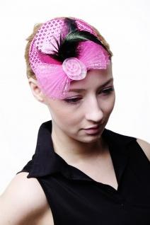 Fascinator Miniatur Hut Mini Zylinder Pink Rosa Damen Burlesque Pailletten H30