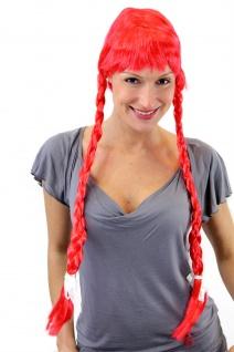 Perücke Damen rot lange geflochtene Zöpfe Pony Alm Heidi Tracht