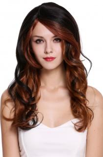 Perücke Damenperücke lang wellig Scheitel schwarz braun blond rot RGF-5905LD