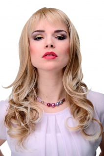 Elegante Damenperücke Perücke lang Blond Mix gewellt Pony ca. 55cm 3001-27T613