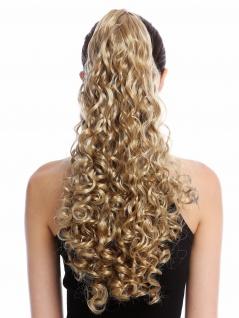 Haarteil Zopf Pferdeschwanz lang voluminös stark gelockt Blond Hellblond 50 cm