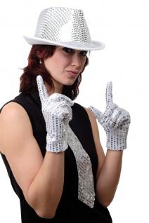 Handschuhe Fasching Karneval Revue Cabaret Pailletten Silber 70er VQ-021-SILVER