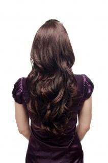 Haarteil Halbperücke Haarverlängerung lang wellig Kämme Braun Mix H9310 60cm
