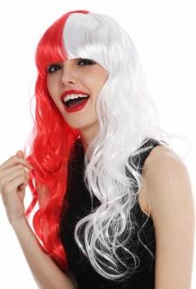 Perücke Damenperücke Halloween Karneval lang Pony rot weiß halbiert Häften