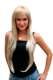 Perücke Damen Frauen lang wellig gestuft Pony Blond gesträhnt 80 cm 6311-27T613