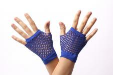 Handschuhe Netzhandschuhe Blau fingerlos kurz Netz 80er Punk Rocker Gothic Emo