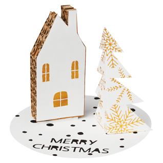 Weihnachtskarte Weihnachtsbotschaft Haus und Tanne von Räder Design