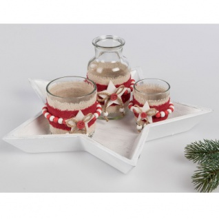 Dekostern Tablett m.Gläsern 4tlg rot-weiß