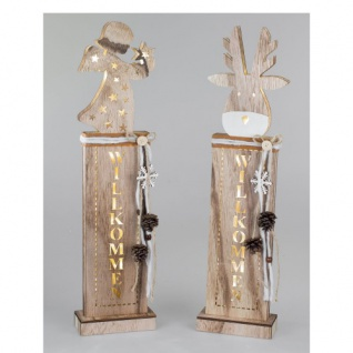 Holzsäule Hirsch aus Holz mit LED 60cm Formano