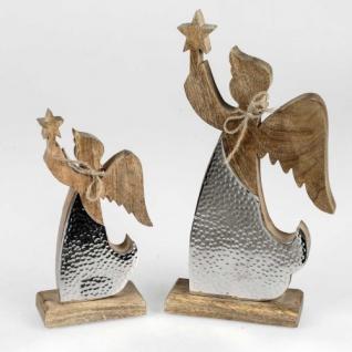 Engel Mangoholz+silbermetallig stehend 35cm Formano