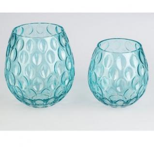 Teelicht/Vase Blau Glas 21cm