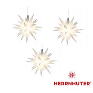 3x Weisse Sterne 13cm LED Set und Netzgerät original Herrnhuter
