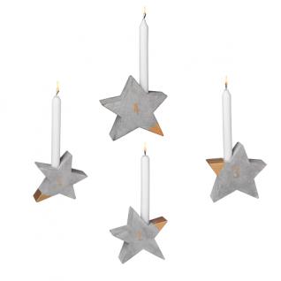 Adventsleuchter Beton Sterne Set gold Winterzeit Räder