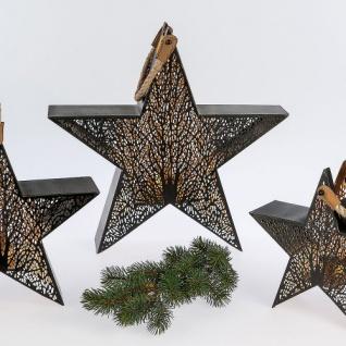 Stern Metall mit Teelicht schwarz 44cm Formano