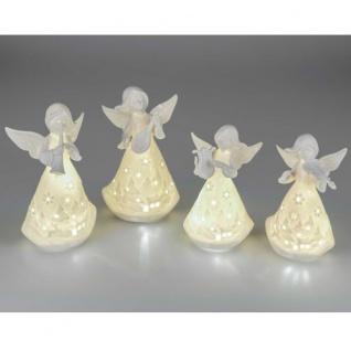 Engel weiß Keramik mit LED+Timer 15, 5cm Formano