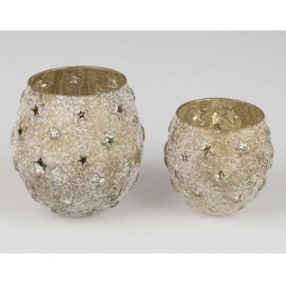 Teelicht Glas goldantik Sterne 14cm Formano