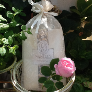 Geschenksäckchen Organza creme bedruckt für Duftsachets