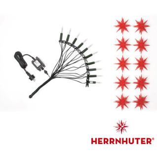 Sternenkette rot LED Innen + Außen Original Herrnhuter 12m