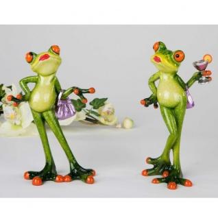 Frosch Lady sort. Deko Figur Kunststein 15cm Formano