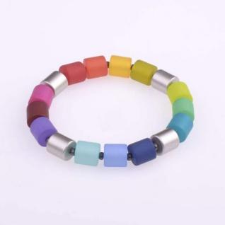 Armband Bärbel bunt leuchtend 10x10mm Polaris und Acrylzylinder