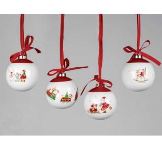 Kugel Weihnachten Porzellan weiß/rot sort. 8cm