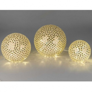 Mosaik Kugel goldsilber mit LED Licht 15cm