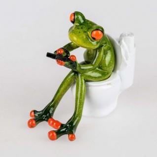 Frosch auf Toilette Deko Figur Kunststein 13cm Formano