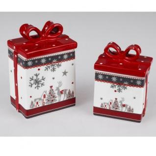 Dose eckig Keramik rot-weiß 18cm