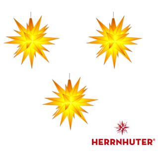 3x Gelbe Sterne 13cm LED Set und Netzgerät original Herrnhuter