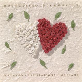 Hochzeit 2 Rosenherzen Karte Räder Design