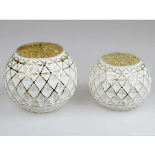 Teelicht Glas weißgold bauchig 16cm Formano