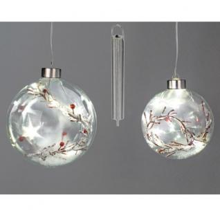 Weihnachtskugel rote Beeren Glas LED+Timer 10cm
