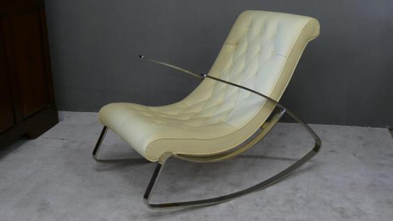 Schaukelstuhl Lounge Liege Sofa Design Klassiker Couch Farbe : Cream