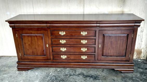 Schrank Buffet Sideboard massiv Mahagoni Farbe Brown Walnuss Handarbeit