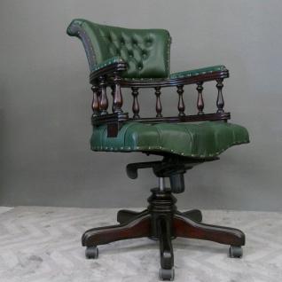 Englischer Bürosessel Chefsessel Mahagoni rot, Echtleder grün Premiumqualität