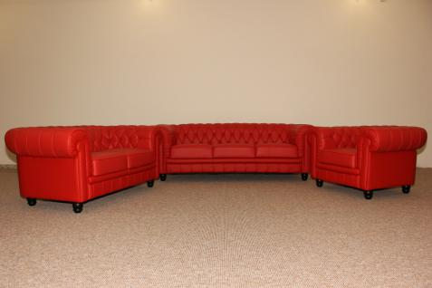 Couchgarnitur Sofa Couch 1- 2- 3-Sitzer hochwertiges italy Leder in rot - Vorschau 1
